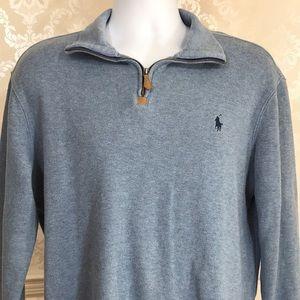 Men's Ralph Lauren Light Blue Zip Neck Sweater